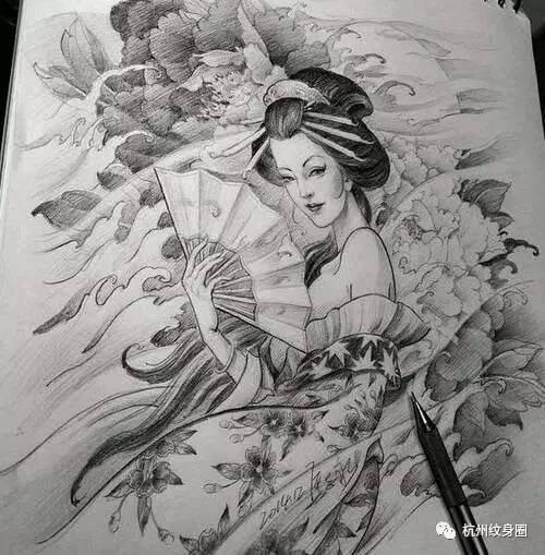 艺伎手绘图片素描