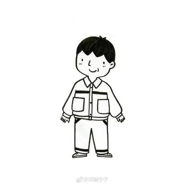 手账简笔画素材   九个萌萌哒黑白简笔画小人物画像(邓瑞宁子)
