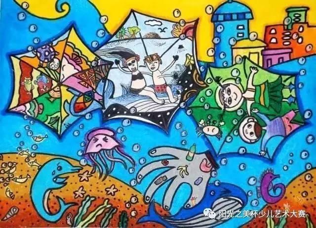 美术保护海洋手绘图片