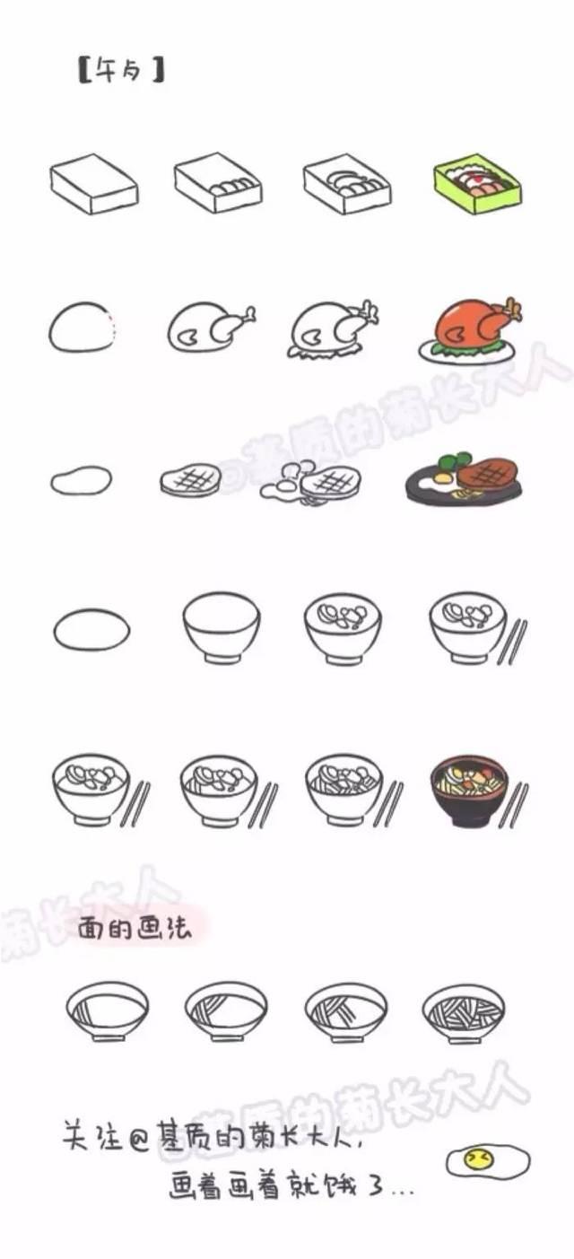 手账简笔画素材   食物简笔画教程来一组(基质的菊长大人)