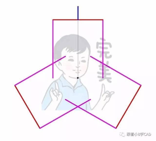 Step3、倒圆角F半径R=40对三组 Step1、-V后输入T到俯视图,绘制