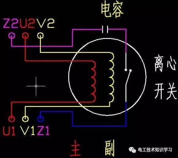 单相电机正反转实物接线图-单相电机电容接线图-单相电机正反转原理