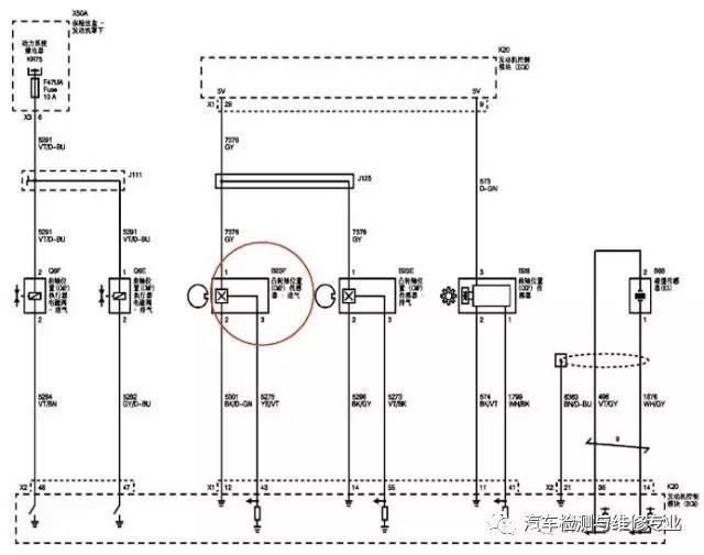 图4 发动机控制系统电路 接着维修技师目测凸轮轴执行器油压正常,互换进气凸轮轴位置传感器、凸轮轴执行器,故障依旧。 用专用工具拆解和检查配气相位机构,正常。尝试更换凸轮轴、凸轮轴正时链轮,故障依旧。 已经更换了那么多配件而故障依旧存在,难道是发动机控制模块内部信号线路出现了故障?由于此车配备EPES 功能,尝试更换了发动机控制模块,编程试车后故障依旧。 维修陷入困境,决定重新整理维修思路。再次查看故障码P0341(进气凸轮轴位置传感器性能,当前),可以删除。在怠速运行状态或钥匙KEY ON 状态删除故障