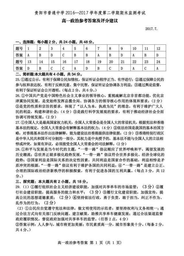 贵阳市普通高中2016-2017学年度第二学期高一2016分数线南海高中图片