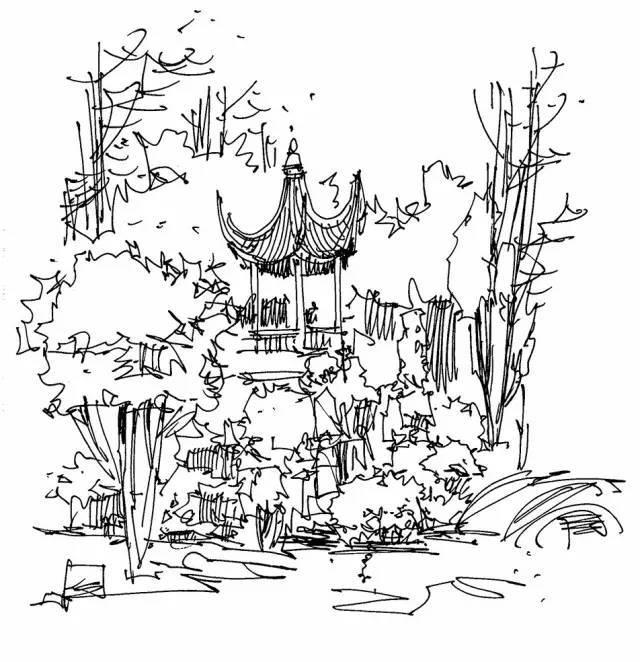 古代园林假山手绘