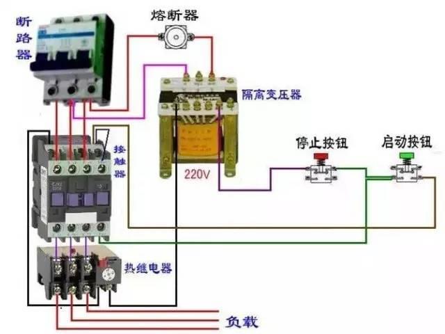 接触器控制回路接线图: 顺序启动,停止控制电路是在一个设备启动之后