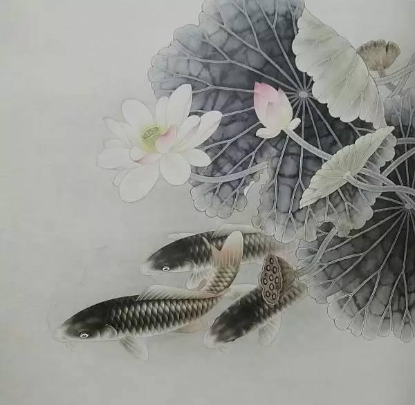 雨年工笔 荷花鲤鱼 步骤画法