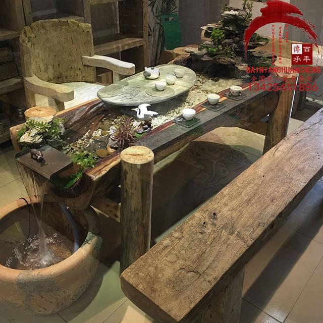 循环流水园林景观流水茶桌,鱼池鱼缸办公会客休闲茶台,功夫茶几图片