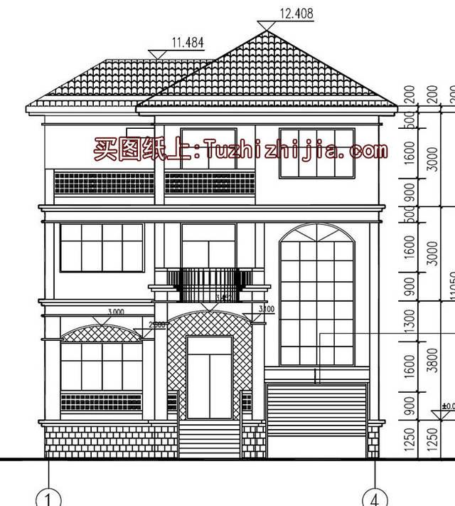农村三层半别墅设计,外观大气户型齐全,带地下