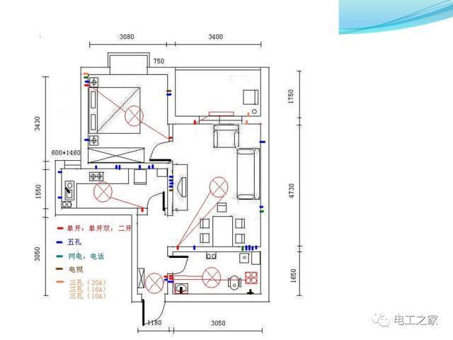 房间电路布线cad图