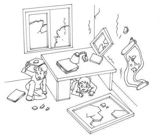 地震预防手绘图