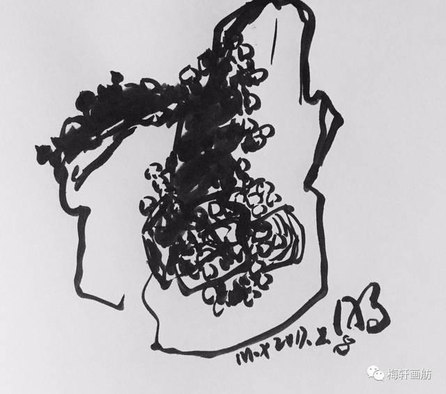 梅轩画舫手绘日记:明水康家的四块石头(8月8日)