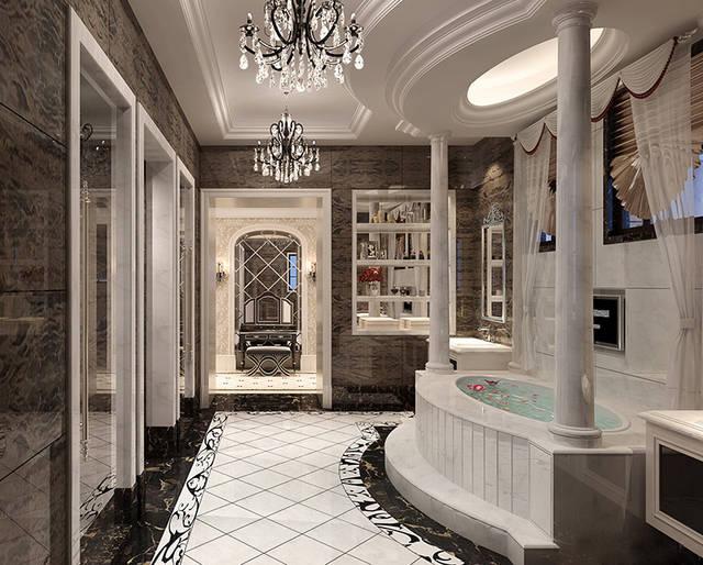 龙发装修建业海马九如府420平方新古典——主卫生间装修效果图