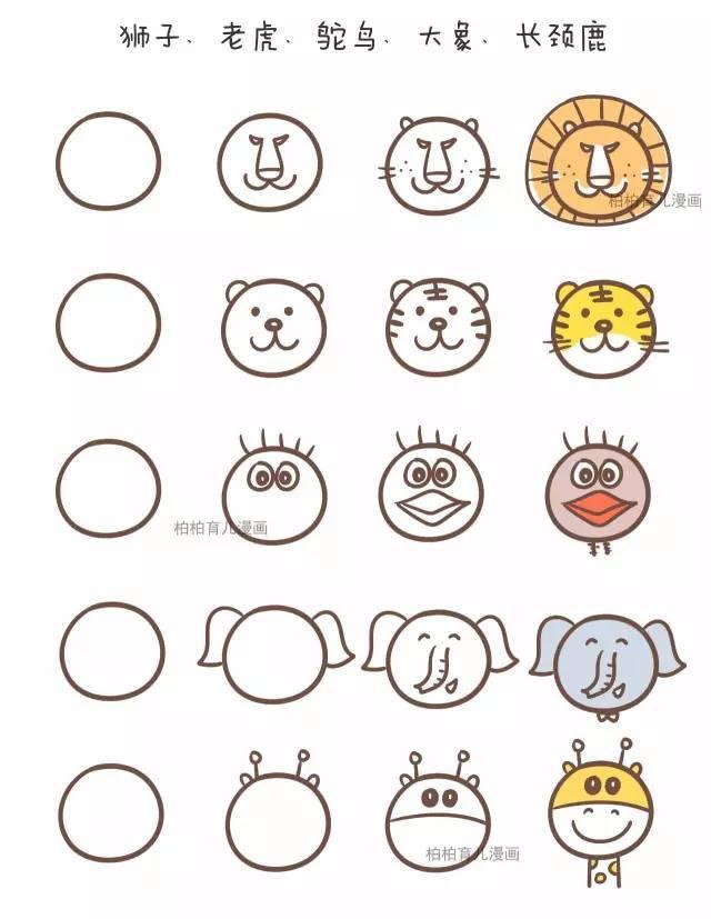 用一个圆画45种动物,好可爱!