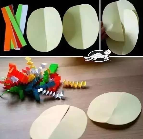 适合即将入学的孩子们,20个入门级卡纸手工,就在这了!  简单的卡纸小手工,一两分钟就可以搞定,孩子都愿意一起来完成。培养孩子的耐心,尤其是小班孩子的手工兴趣,先从这些卡纸开始吧! 粘贴小章鱼 七彩的卡纸条,让章鱼变得可爱起来  立体蛋挂饰 打孔器在蛋蛋的边缘打出一圈小孔,练练孩子的动手能力