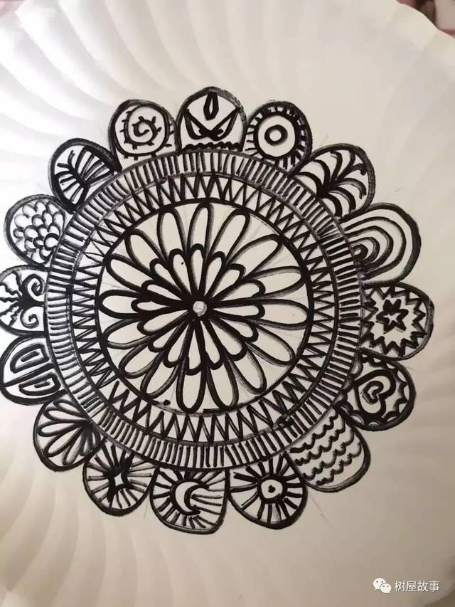 【双双小画室】纸盘线条创意画