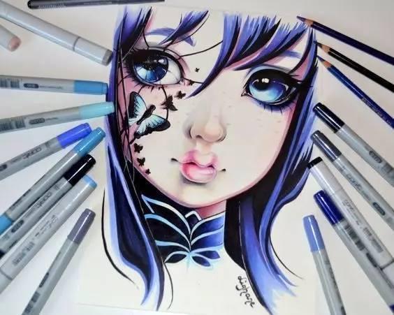 她用马克笔画下所有动漫头像,简直萌翻了!