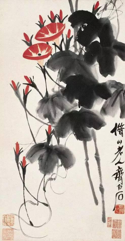 洋红蘸胭脂画花,淡墨浓墨交替画叶子,干墨焦墨画藤蔓,寥寥数笔,牵牛花