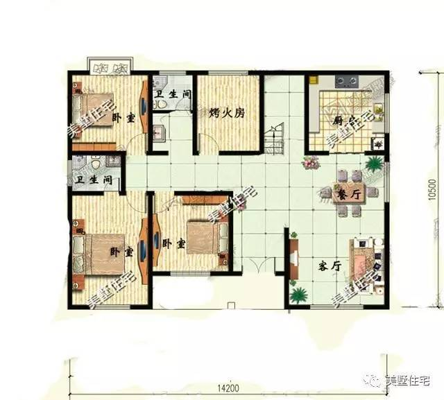14米x10米二层房设计图