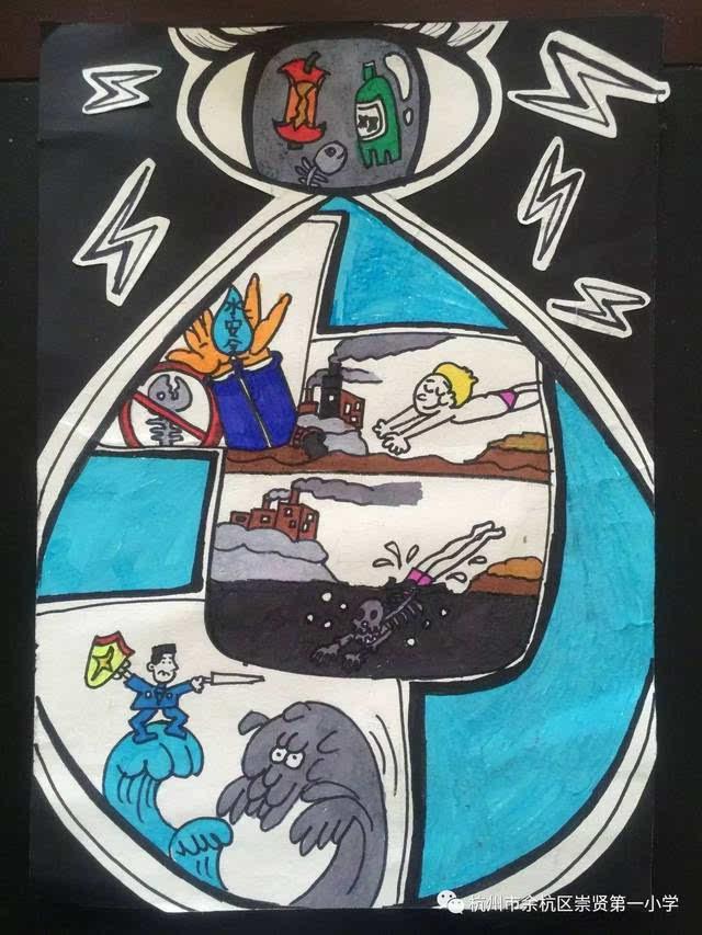 河水污染卡通图片