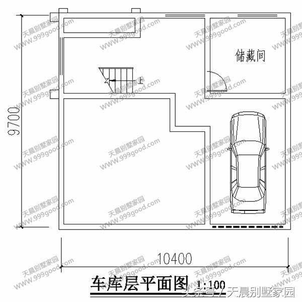 架空层别墅设计图:车库,储藏室,楼梯.
