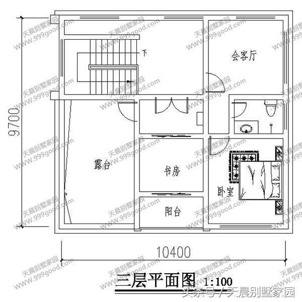 一层别墅设计图:客厅,卧室,厨房,餐厅,卫生间,储藏间,花池,旋转楼梯.