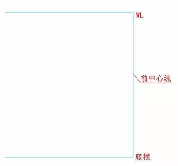 前片最大外包围h/40.5hl向下10厘米位置画11.2的线段.