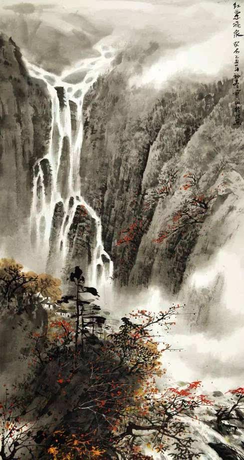 壁纸 风景 国画 旅游 瀑布 山水 桌面 489_920 竖版 竖屏 手机