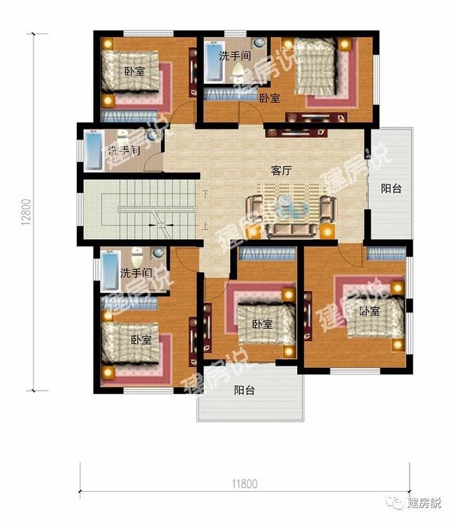 设有客厅,餐厅,厨房,洗手间,棋牌室,还设有两间带有独立洗手间的卧室