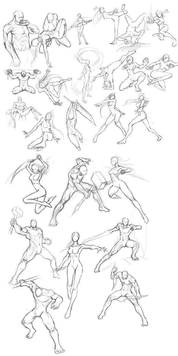 人体动作绘画参考素材   武打人物姿势1000个