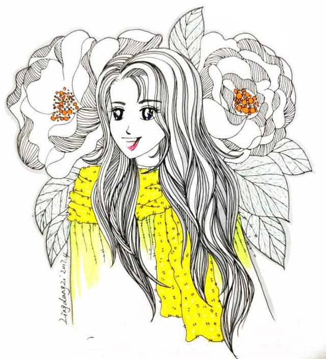 零基础学简笔画 | 少女的头发这样画!