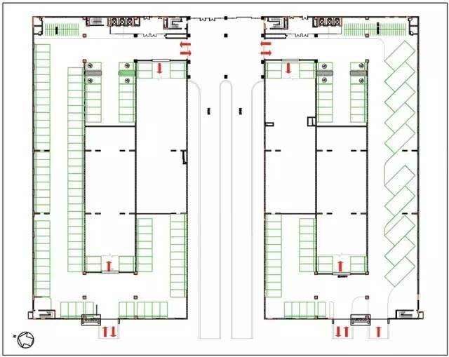 首层主要布置大巴车,无障碍,自行车停车位,其余各层布置标准车位,整栋