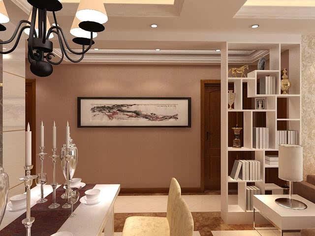 这是一间现代客厅博古架隔断效果图,博古架的设置将两个空间区分开