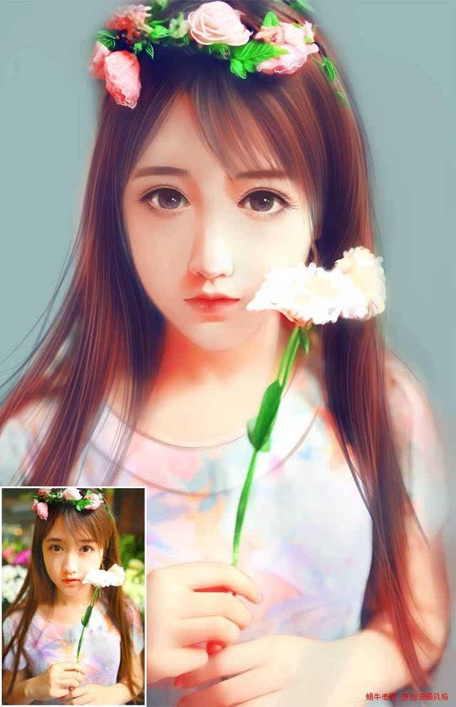 photoshop转手绘:给复古女孩照片转唯美手绘效果雪走酱