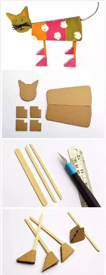 幼教手工:硬纸板制作立体小猫咪