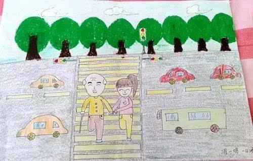 冯一鸣小朋友的作品《老爷爷,我扶你过马路》