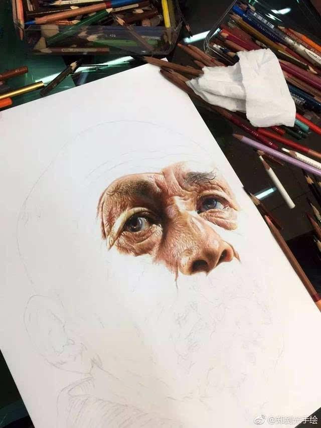 写实手绘彩铅狗