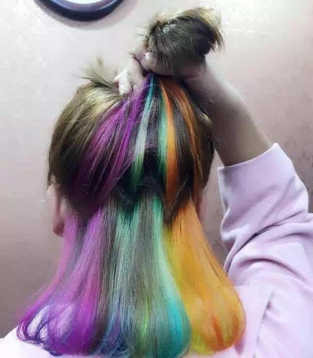 下面所有的头发都是彩染过的,五颜六色,仿佛彩虹一般,十分艳丽.