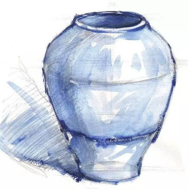 瓦罐 步骤一:先用铅笔画出紫色陶罐的轮廓 然后再画出罐子的暗部和
