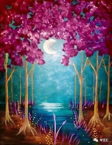 把月光装进画里|这样的丙烯风景画简直百看不厌!