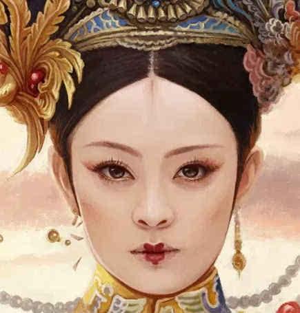 清朝妇女以艳红居多,并且涂抹部分非常小,上下唇各抹一小点.图片