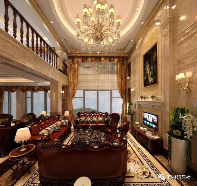 欧式客厅,大理石装饰大气恢弘又不失优雅.