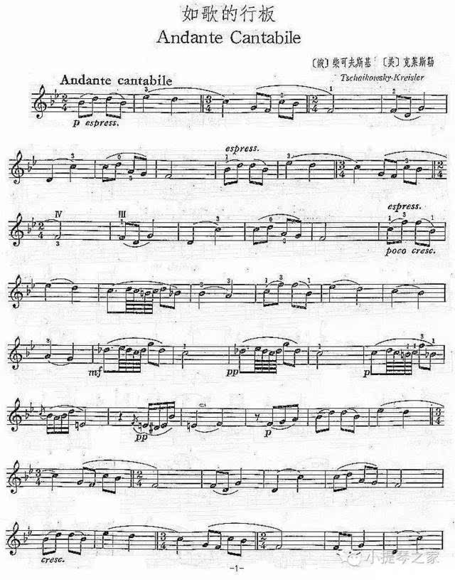 小提琴《如歌的行板》附小提琴谱-柴可夫斯基-帕尔曼演奏