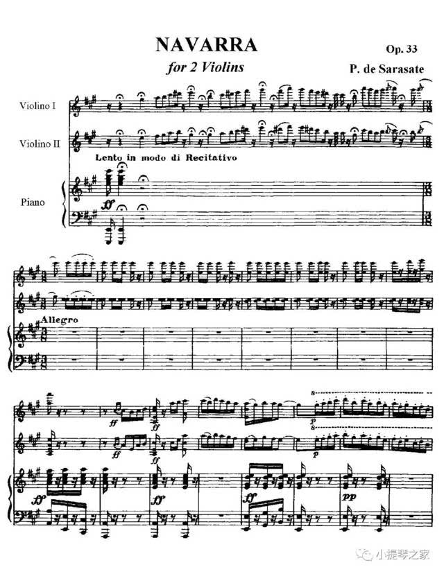 小提琴二重奏《纳瓦拉舞曲》附小提琴谱-萨拉萨蒂