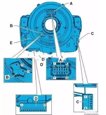 17,转向柱电子装置控制器 -j527-转向柱开关上的转向柱上.
