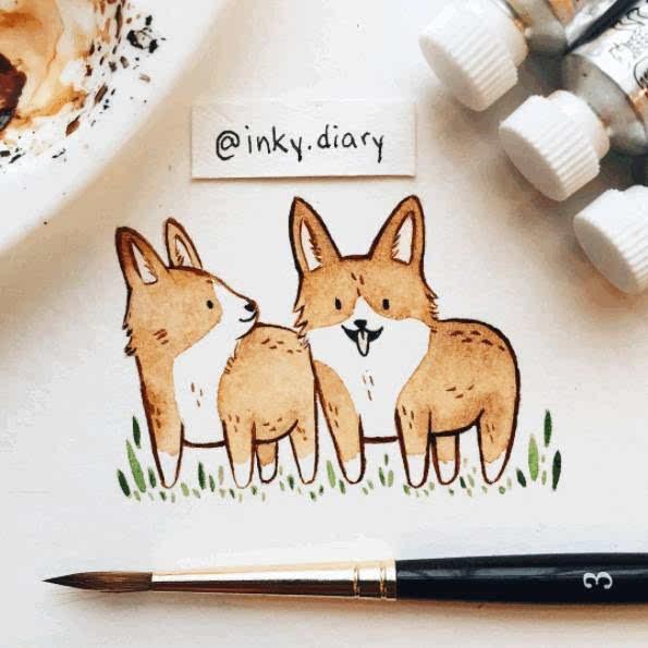 diary 还喜欢把小动物画的成双成对 从她的画面中 我们能感觉到轻松