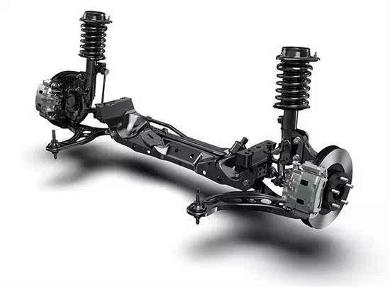 典型的汽车悬架结构由弹性元件,减震器以及导向机构等组成,这三部分