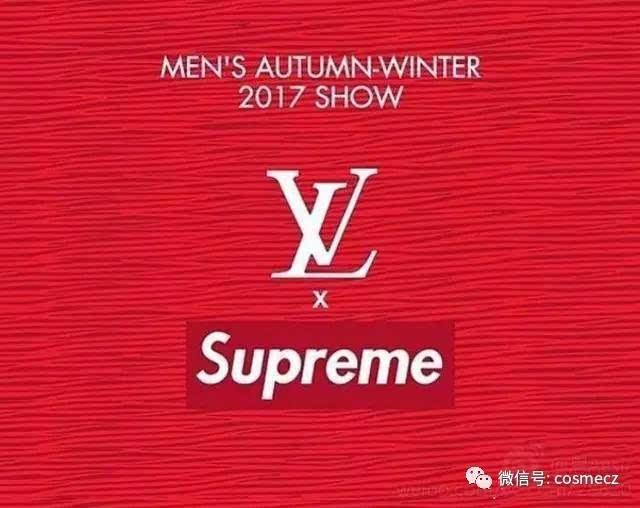 全新monogram花纹中融入supreme标志性的长方形box logo,在多种面料上