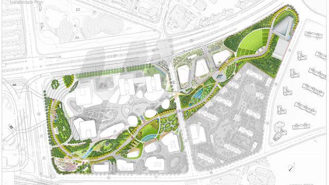 指导公园设计的概念受到周边和下层运输基础设施的启发 - 南火车站