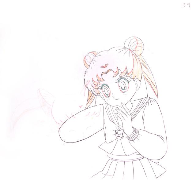 美少女战士 2(线稿) 《美少女战士》水冰月,小小兔合绘附背景,设计稿